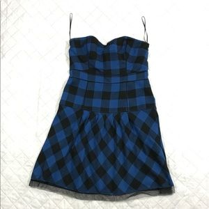 Strapless Plaid Blue and Black Dress